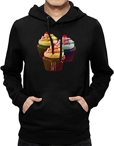 R.I.P. Diet Cupcakes Funny Hoodie Sweatshirt For Men| Custom -Printed Hooded Jumper W/ Brushed Inside| 80% Cotton- 20% Polyester| Premium Quality DTG Printing| Unique Clothing By Teezer Tee