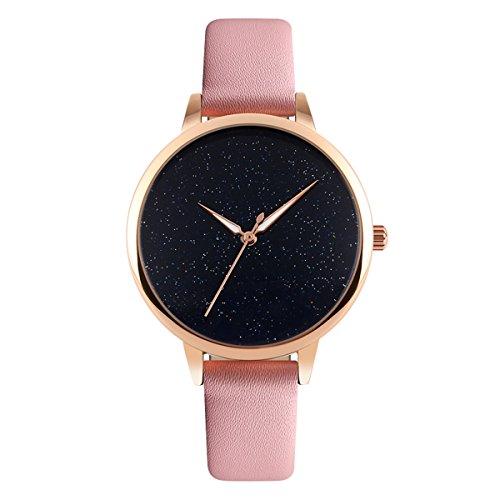 Mode Damenuhren neue einzigartige Sternenlicht Wahl rosa Lederband wasserdichte Uhr für Mädchen, Studenten