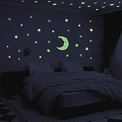 Idea Regalo - Stelle Fluorescenti e Grande Luna - AIYUE 300 Pcs Adesivi da Parete Fluorescenti per la Camera dei Bambini - Decorazione Della Stanza del fai da te Adesivi Luminosi per Ragazzo Ragazza - Regali Natale