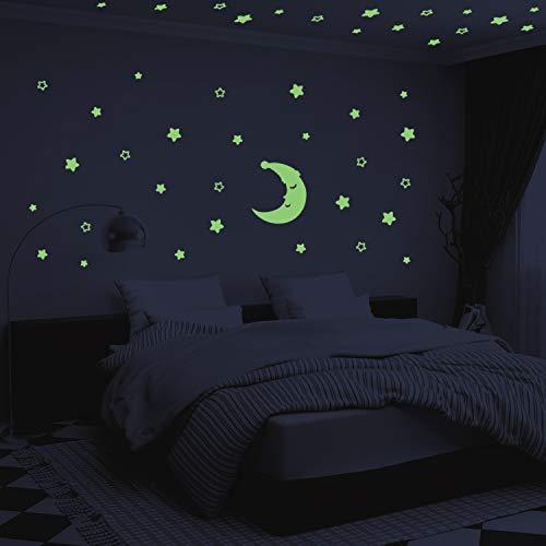 Stelle Fluorescenti e Grande Luna - AIYUE 300 Pcs Adesivi da Parete Fluorescenti per la Camera dei Bambini - Decorazione Della Stanza del fai da te Adesivi Luminosi per Ragazzo Ragazza - Regali Natale