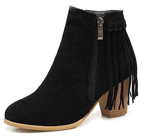 Frange Stile Donna In Aisun Stivali Neri Grosso Moda Tacco qpCw1X