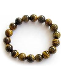 bc2cd791b799 Piedra de ojo de tigre genuino Ovalbuy 10 mm grano de cuentas pulsera del  estiramiento