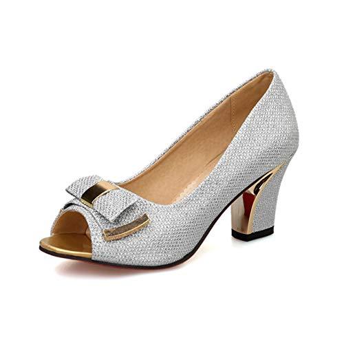 MENGLTX High Heels Sandalen Große Größe 32-43 Peep Toe Bow High Heels Sommer Pumps Schuhe Frauen Elegante Ol Frau Schuhe 4 Silber -