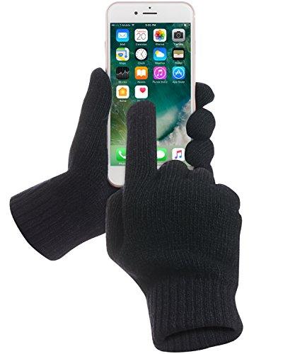 GreatShield Touchscreen Strick Winterhandschuhe/Handschuhe aus LAMMWOLLE [Edel|Weich|Warm] Unisex[Damen & Herren] - Schwarz - L