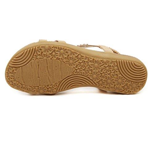 Oriskey Femmes de Bohême Simple Sandales été Plat Tongs Flip Flops Sandales Avec Bohême Perles Chaussures Kaki