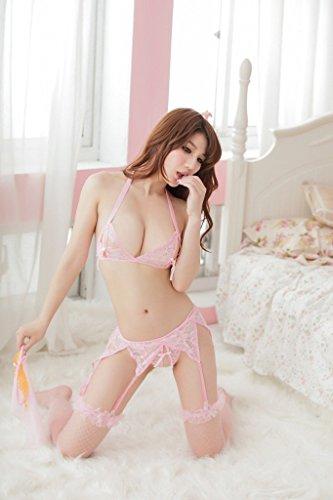 Shangrui Femmes 3-points Ouvert Chest Pyjamas Costume Veil Bas Résille Ensembles Sous-vêtements W277 pink