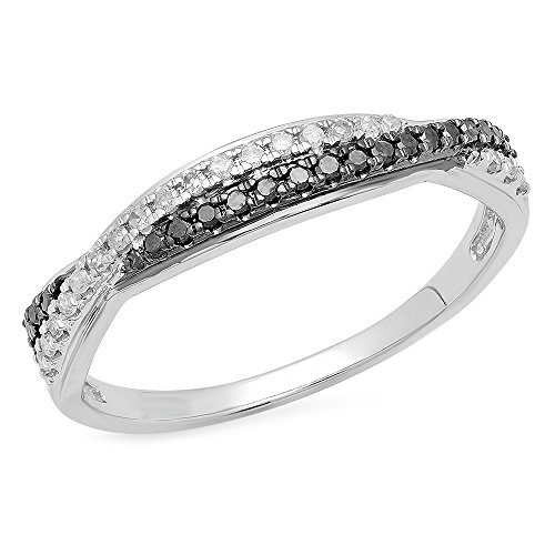 DazzlingRock Collection  -  10 K  Weißgold Rundschliff   I-J schwarz Diamant Schwarzer Diamant  (10k Weißes Gold Schwarzer Diamant Ring)