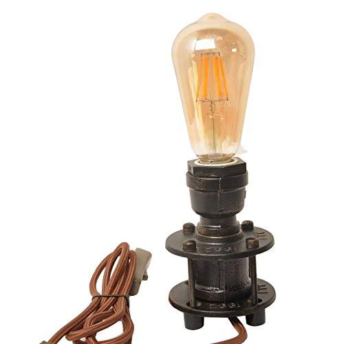 Focolux-Vintage Industrie Tisch Rohr Schreibtisch Lampe Retro Loft rustikal Steampunk Eisen ohne Edison Birne, antike Schreibtisch Lampen Nacht Wohnzimmer Schlafzimmer Home Decor mit Schalter - Industrie-schreibtisch-lampe
