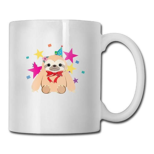 VVIANS Bow Tie Party Sloth Casual Printed Coffee Tea Mug Cup for Men Women Office Work Adult3.14W x 3.74H(8x9.5cm) -