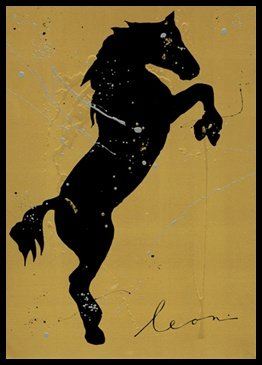 Bild mit Rahmen Leon Bosboom - Cria de Caballos - Digitaldruck - Alimunium schwarz glänzend, 30 x 42cm - Premiumqualität - Pferd, Silhouette, Bewegung, Energie, aufsteigend, Farbkleckse, figurativ, Modern, Wohnzimmer - MADE IN GERMANY - ART-GALERIE-SHOPde