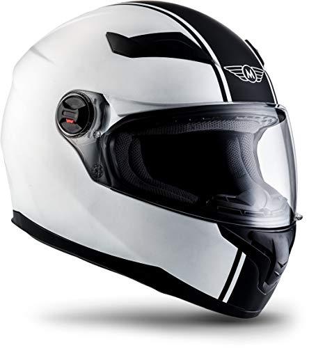 """Moto Helmets® X86 \""""Racing Matt White\"""" · Integral-Helm · Full-Face Motorrad-Helm Roller-Helm Cruiser · ECE Visier Schnellverschluss Tasche L (59-60cm)"""