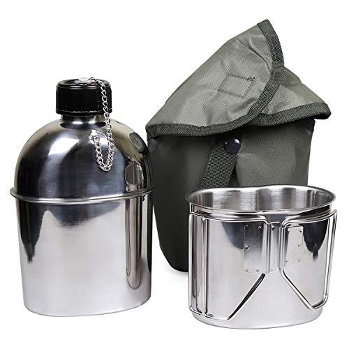 Goetland Edelstahl US Feldflasche Wasserflasche Trinkflasche 1,2L mit 0,6 L Becher Stofftasche für Camping Wandern Überleben