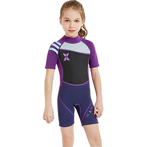 FMDD Kinder Eins Stück Neoprenanzug Kurze ärmel Tauchanzüge,Schwimmen, Surfen, Tauchen Anzug Nassanzüge 2.5mm Neopren Tauchanzüge Badeanzug (Lila, S)