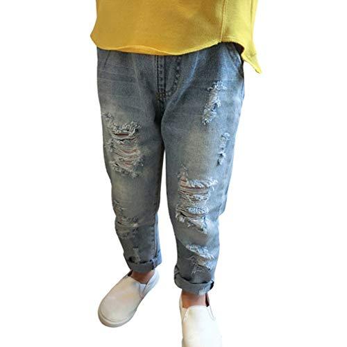 Denim jeans per neonati bambini - comodi vita elastica pantaloni strappati moda casual jeans pantalone con tasche per ragazze ragazzi