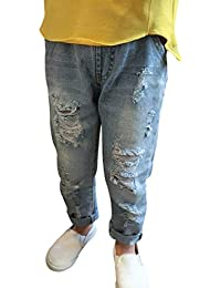 Yying Jeans Déchiré pour Bébé Enfants - Confortable Elastique Ceinture  Casual Ripped Pantalon Mode Printemps Pantalons 67cb69f0d38