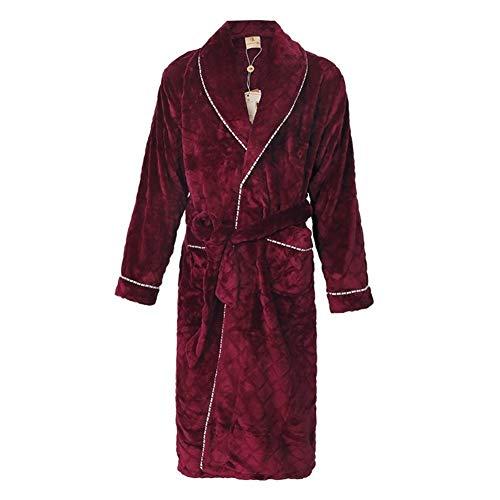 Bademantel Herren- Pyjamas super weich Robe Freizeit - for Hotelduschen-Party (Color : Red, Size : XL)