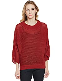Cayman Rust Acrylic Woollen Knitted Poncho Sweater