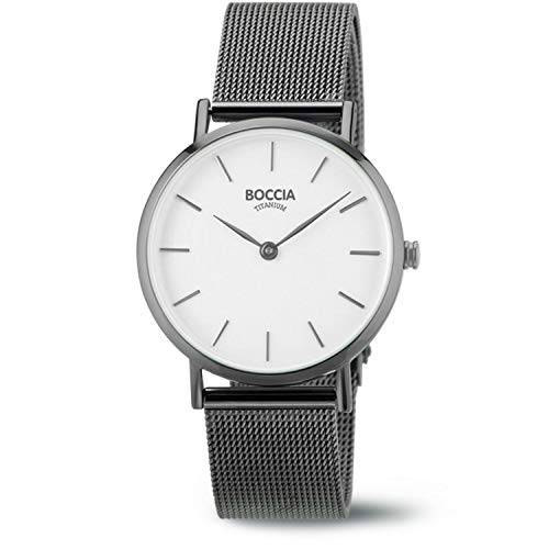 Boccia Damen Analog Quarz Uhr mit Edelstahl Armband 3281-04