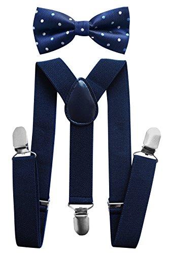 axy Kinder Hosenträger-Y Form mit Fliege set - 3 Clips EXTRA STARK-Uni Farben HTK25-3 (Schwarzblaue Hosenträger + Fliege Nr.12)