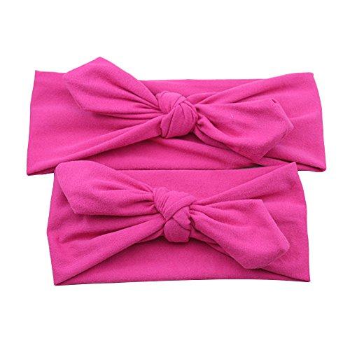 Mutter Und Mir Grauen Haarreifen Haarschleife Gesetzt Stirnband Boho Baby Headwrap Geknotet (Hot pink)