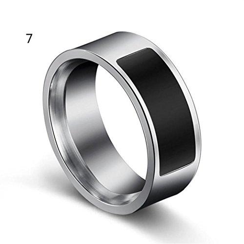 samLIKE Spezielle Mode NFC multifunktionale intelligente wasserdichte Smart Ring Verschleiß Finger Digital Ring für Android und Windows NFC Mobiles, Größen 6-13, Silber (7)