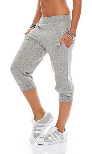 Gennadi Hoppe Damen 3/4 Trainingshose Sporthose Kurze Hose Sport Fitness Jogginghose Shorts Barmuda, hellgrau,M -