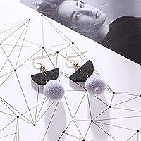 SSEHXL earring Ball Drop Earrings Korean Fashion Geometric Wooden Dangle Earring For Women Girl Vintage Jewelry Gifts