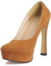 Best 4U® Botas de tobillo de mujer suela de goma punta redonda 13CM Botas de tacón alto cómodo Botas de terciopelo...