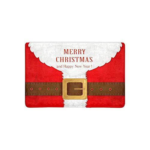 Lustige Bart und Santa Anzug mit Gürtel Frohe Weihnachten Fußmatte Indoor Outdoor Eingang Teppich Fußmatten Fußmatte rutschfeste Home Decor, Gummi sichern
