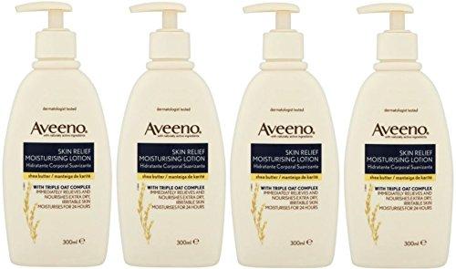 x4-aveeno-skin-relief-moisturiser-lotion-shea-butter-hydrate-24-hours-300ml
