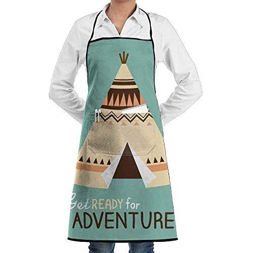 Drempad Schürzen/Kochschürze, Tribal Cartoon Get Ready for Adventure Tent Fashion Waterproof Durable Apron with Pockets for Women Men Chef -