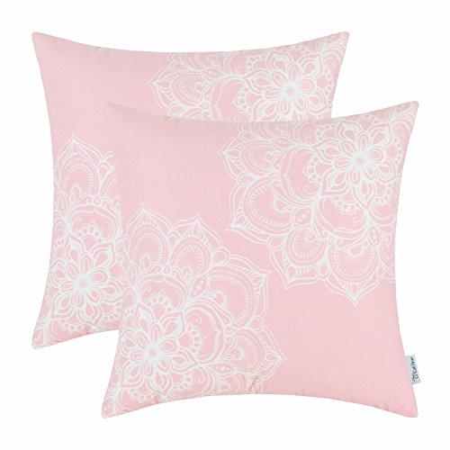 Packung mit 2 CaliTime Home Kissenezug Stamm Vintage Dahlie Blumen 50cm X 50cm Baby Pink