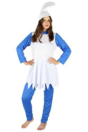 fasching kostueme damen maerchen Foxxeo FO40364 | Blaue Zwergin - Kostüm für Damen Karneval Fasching Märchen Blau Weiße Mütze Gr. XS, S, M, L, XL, Größe:M