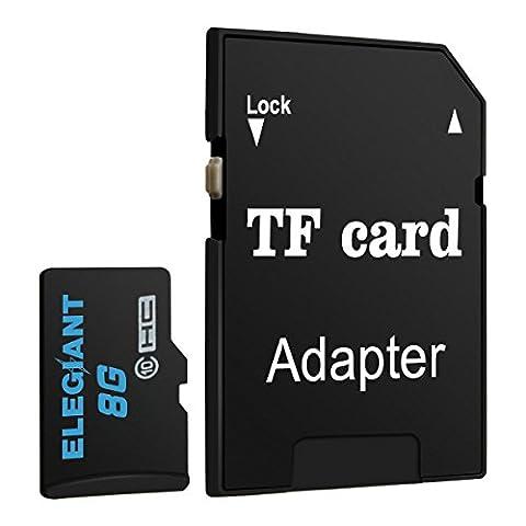 ELEGIANT 8GB Micro SD TF Karte Speicherkarte Speicher Memory Flash Card Class 10 Secure Digital High Speed Flash mit SDHC Adapter