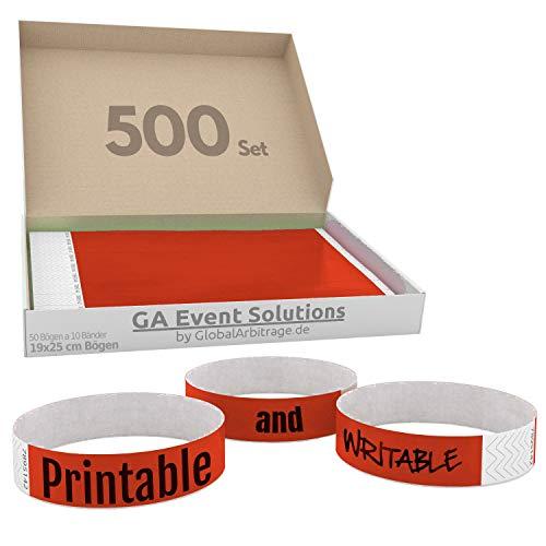 GA Event Solutions Braccialetti di identificazione Tyvek, Rosso, 500 pezzi