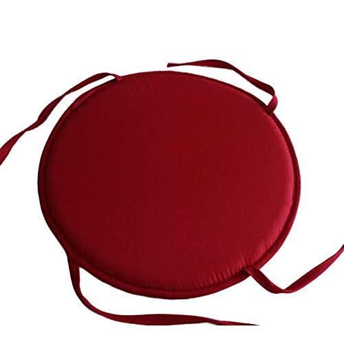 Kangfang, 2019, cuscino rotondo per sedia, con quattro lacci, tinta unita, per interni, patio, ufficio, sedia da giardino dark red