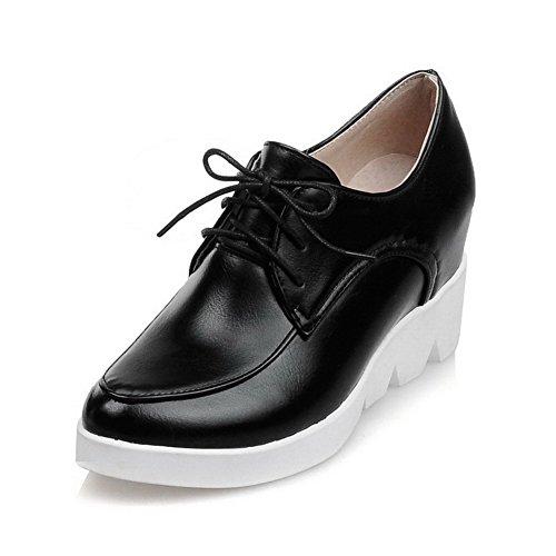 AllhqFashion Femme Pu Cuir à Talon Haut Rond Couleur Unie Chaussures Légeres Noir