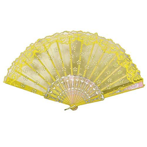 Kviklo Handfächer Folding Fächer Mesh Flower Geblümt Durchsichtiges durchbrochenes Kostüm Party Hochzeit Chinesisch/Japanisch Dekorationen(Gelb,23cm) -