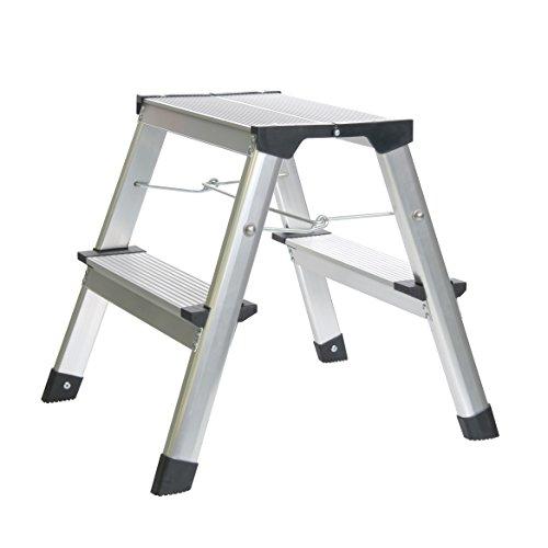 Klapptritt Alu Trittleiter mit Spreizsicherung und 2 Stufen bis 150 kg belastbar - Leiter aufgestellt ca. 40 x 35 x 46 cm - TÜV Rheinland zertifiziert (Unten Oben Rastet)