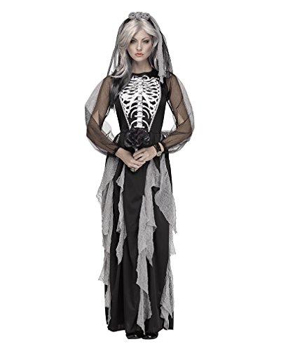 Geister Skelett Gothic Braut Damenkostüm mit Schleier für Halloween & Grusel Fasching (Bräutigam Und Skelett Braut Kostüme)
