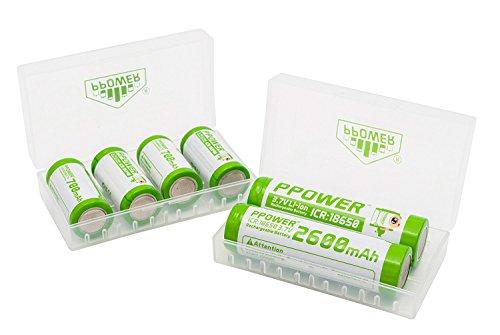 2X PPower contenitore di batteria, scatola di immagazzinaggio, per 4x 18650, 8x 16340, 17500, 17650 batterie, Battery Case (batterie non incluse) P-power