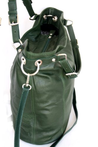 Shopper in pelle XL , spalla borsa con zip (DIN A4) Italia (MOD 2008-p) Green