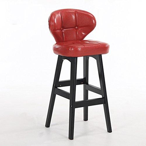 BOBE SHOP Minimaliste, bois massif, cuir artificiel coussin bar réception européenne chaise en bois banc Vintage tabouret de bar hauteur 68cm (Couleur : Rouge, taille : B)