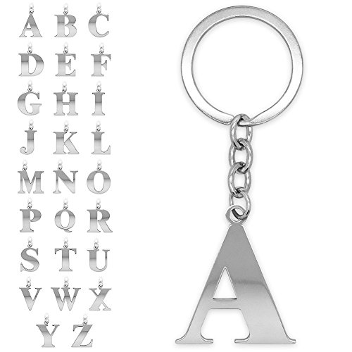 SoulCats key fob lettern silver-coloured A-Z gleaming initial bunch of keys stainless steel