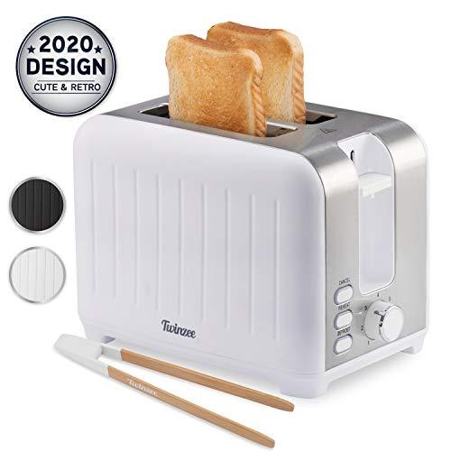 Toaster mit Breitem Schlitz 3 in 1 - Weiß Matt Edelstahl, Retro-Toaster - Gratis Bambus-Zange - 7 Bräunungsstufen - 850W - Brötchenaufsatz und Krümelschublade
