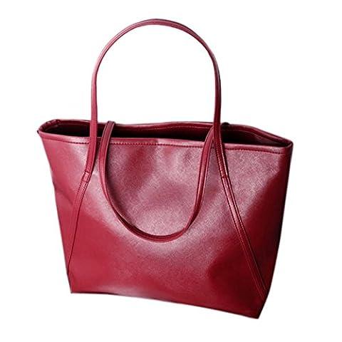 Sac à main, FeiTong Simple d'hiver de plus grande capacité en cuir PU Femmes Messenger Bag (Rouge)