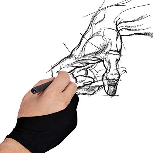 UKCOCO 2 stücke Malerei Handschuh Zwei Finger Zeichnung Handschuh Künstlerzeichnung Anti-Fouling Handschuh (M) (Sketch Für Tablet Zeichnung)