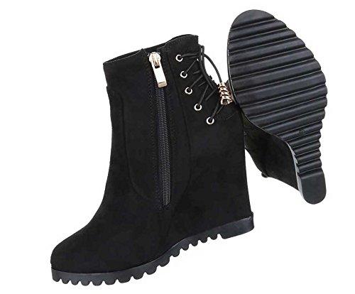 Damen Stiefeletten Schuhe Keil Wedge Boots Schwarz Grau 36 37 38 39 40 41 Schwarz