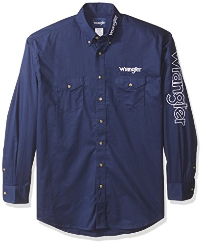 Wrangler herren Men's Logo Big and Tall Two Pocket Long Sleeve Shirt  Button Down Hemd  -  blau -  (And Tall Big Button-down-hemd)