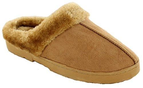 Dr Keller - Pantofole da donna in calda pelliccia foderata, disponibili nei numeri dal 35,5 al 42, ottime ciabatte da casa lavabili in lavatrice Decator Tan